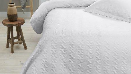 Bílý přehoz přes postel se dvěma povlaky na polštář Dreamhouse Wave,260x250cm