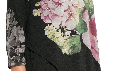 Desigual tmavě šedé tričko Nati s květy