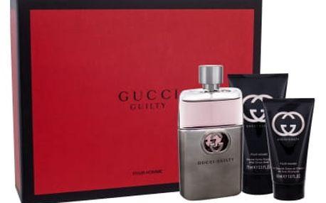 Gucci Guilty Pour Homme - toaletní voda s rozprašovačem 90 ml + balzám po holení 75 ml + sprchový gel 50 ml