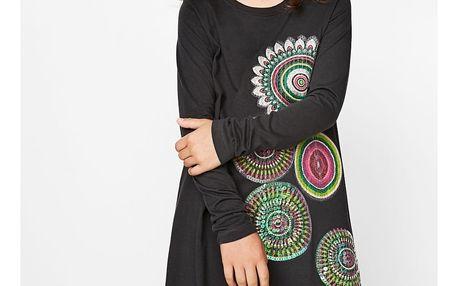 Desigual tmavě šedé dívčí šaty Care