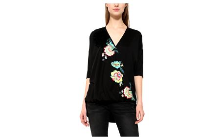 Desigual černé tričko Alicia s barevným potiskem