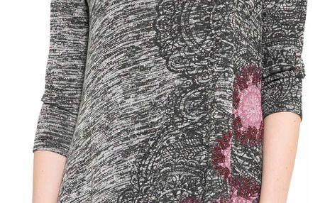 Desigual šedé triko Agatha s růžovými mandalami