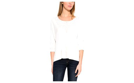 Desigual bílé tričko Leti se zlatými prvky
