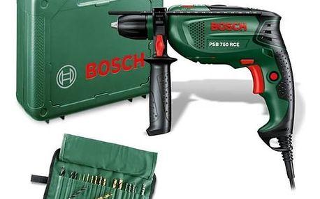 Vrtačka Bosch PSB 750 RCE, příklepová + sada 19 ks příslušenství zelená