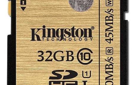 Paměťová karta Kingston SDHC 32GB UHS-I U1 (90R/45W) (SDA10/32GB) + Doprava zdarma
