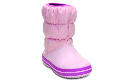 Crocs světle růžové sněhule Winter Puff Boot Kids Wild Orchid