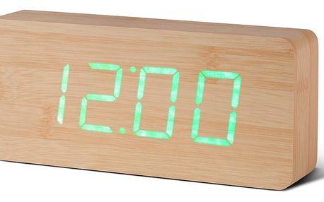 Světle hnědý budík se zeleným LED displejem Gingko Slab Click Clock - doprava zdarma!