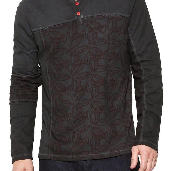 Desigual tmavě šedé pánské tričko Sueňos