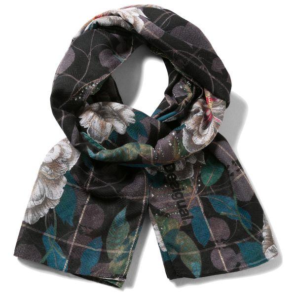 Desigual černý šátek Rectangle Troy