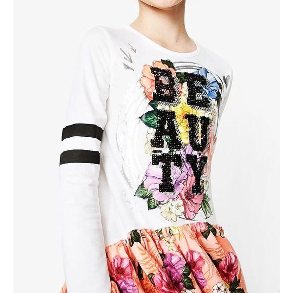 Desigual bílo-lososové dívčí šaty Abiyán