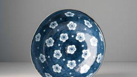 MIJ Nepravidelná miska Navy & White Blossom 21 cm
