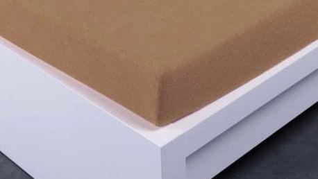 XPOSE ® Bambusové froté prostěradlo dvoulůžko - hnědá 180x200 cm