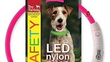 Obojek Dog Fantasy LED nylonový S/M růžový