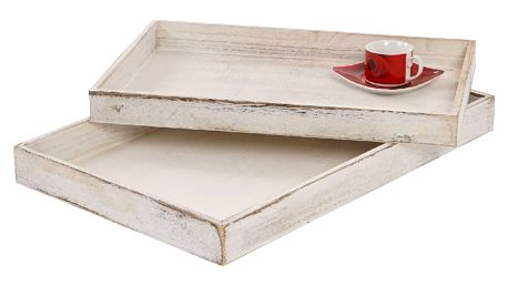 Sada 2 bílých dřevěných táců Mendler Shabby