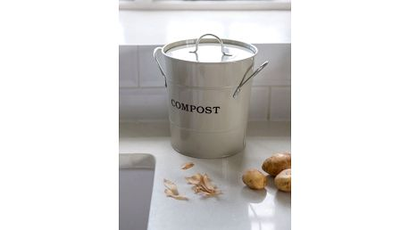 Garden Trading Kbelík na kompost Clay 3,5 l, zelená barva, béžová barva, kov