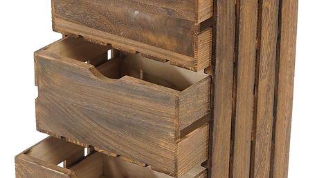 Hnědá dřevěná komoda Mendler Shabby Vintage - doprava zdarma!
