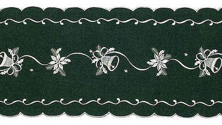 Forbyt Vánoční ubrus Zvonky zelená, 35 x 160 cm