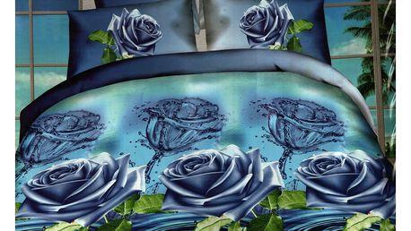 3D souprava povlečení 2+2, set 4 ks Vzor: 10 - Modré květiny