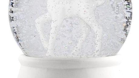 Bloomingville Skleněná dekorativní koule Deer, bílá barva, sklo, keramika