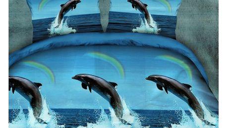 3D souprava povlečení 2+2, set 4 ks Vzor: 48 - Delfín - Duha