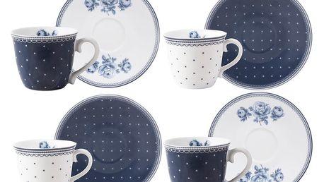 Sada 4 porcelánových hrnků na espresso s podšálky Creative Tops Vintage Indigo - doprava zdarma!