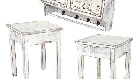 Dřevěná sada bílé závěsné poličky se dvěma stolky Mendler Shabby - doprava zdarma!