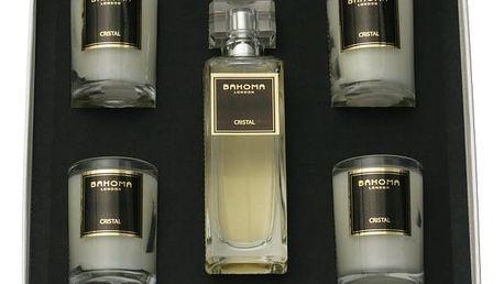 Sada 4 vonných svíček a pokojového spreje Bahoma Cristal