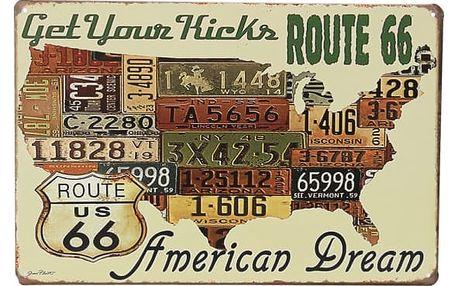 Plechová cedule - Route 66 - American Dream
