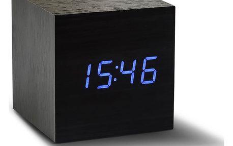 Černý budík s modrým LED displejem Gingko Cube Click Clock