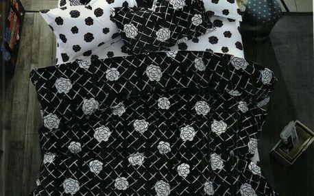 Krásná souprava povlečení 2+2, set 4 ks Vzor: 1 - Bílá růže na černém povrchu