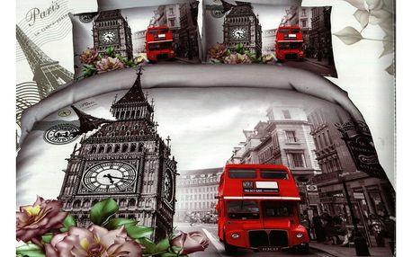 3D souprava povlečení 2+2, set 4 ks Vzor: 2 - Londýn