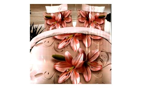 3D souprava povlečení 2+1, 200 x 220 cm Vzor: 10 - růžové lilie
