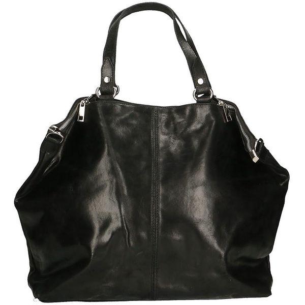 Černá kožená kabelka Chicca Borse Terracia - doprava zdarma!