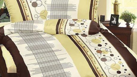 Bellatex Povlečení bavlna Hnědá mřížka, 140 x 200 cm, 70 x 90 cm