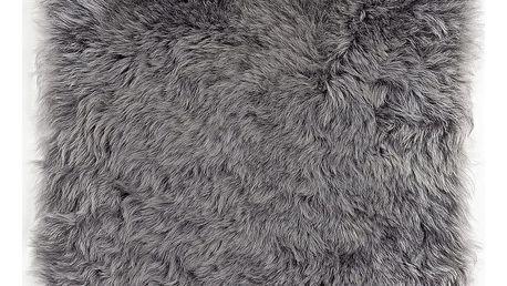 Šedý sedák na židli z ovčí kožešiny s krátkým chlupem, 37 x 37 cm