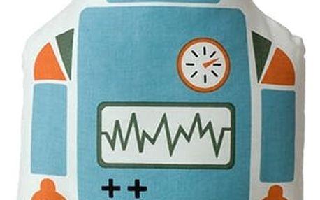 ferm LIVING Polštář Mr. Large Robot, modrá barva, textil