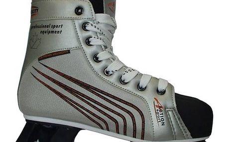 Hokejové brusle Acra Acra Canadien, vel. 44 černé/stříbrné + Doprava zdarma