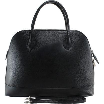 Černá kožená kabelka Chicca Borse Griot - doprava zdarma!