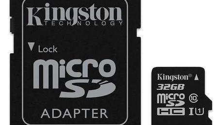 Paměťová karta Kingston MicroSDHC 32GB UHS-I U1 (45R/10W) + adapter (SDC10G2/32GB) + Doprava zdarma