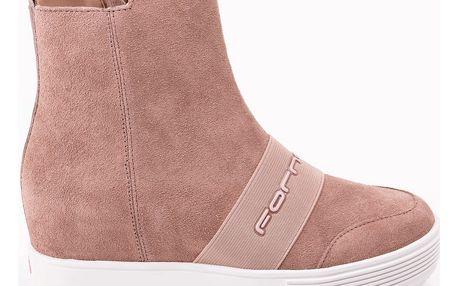 Fornarina růžové kožené boty Met