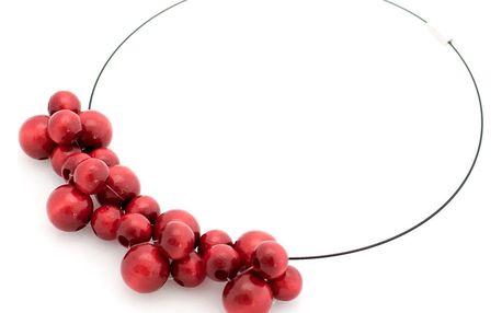 Červený dřevěný náhrdelník Ko–ra–le Bubbles