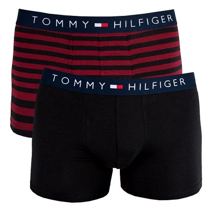 2PACK pánské boxerky Tommy Hilfiger trunk černo vínové proužky M