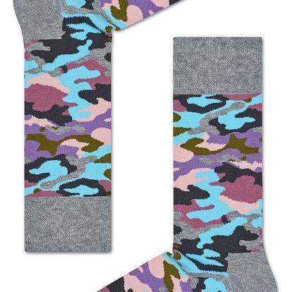 Happy Socks maskáčové dámské ponožky Bark Grey