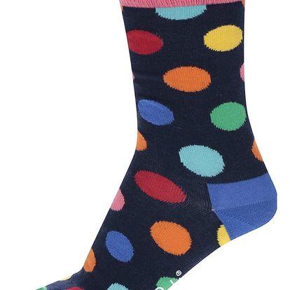 Tmavě modré dámské puntíkované ponožky Happy Socks Big Dot