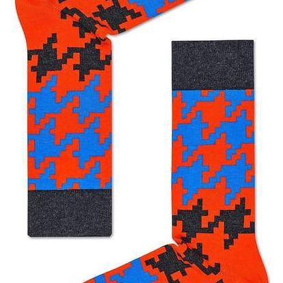 Happy Socks oranžové pánské ponožky s kohoutí stopou Dogtooth