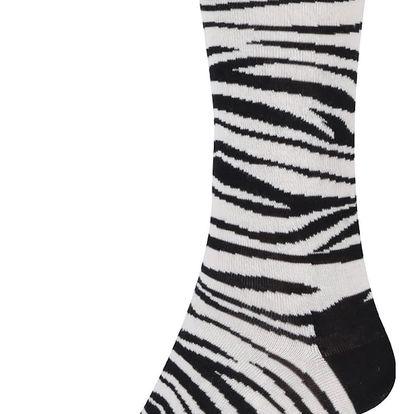 Krémovo-černé unisex zebrované ponožky Happy Socks Zebra