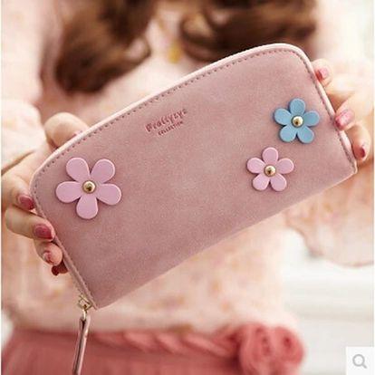 Dámská peněženka zdobená květinami - 6 barev