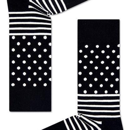 Happy Socks černé dámské ponožky Stripe Dot