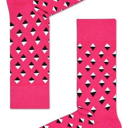 Happy Socks růžové pánské ponožky Diamonds