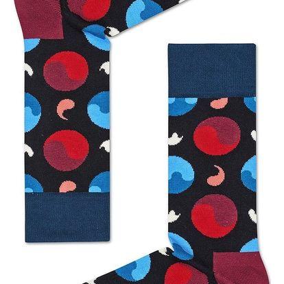 Happy Socks černé dámské ponožky Ying Yang